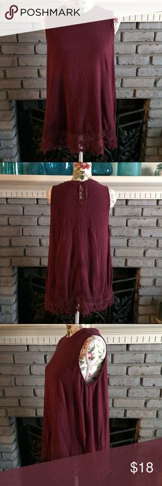 """💜Burgundy Loose Trapeze Sleeveless Top Crochet Cute! EUC burgundy bohemian sleeveless blouse top w/sweet crochet trim. Keyhole button back. Size adult large, 100% rayon. Hand wash only! App 27"""" length shoulder to hem. Looks so cute with pants/leggings and a cardi! No trades/holds.  💜Bundle sale! Bundle 2+ ❤️💜💛💙 marked items to get this for only $10! Elodie Tops Blouses"""