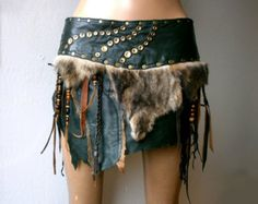 Dream Warriors green leather skirt with fur, fringe &beads. Apocalyptic tribal pagan voodoo barbarian viking wiccan elf warrior larp costume