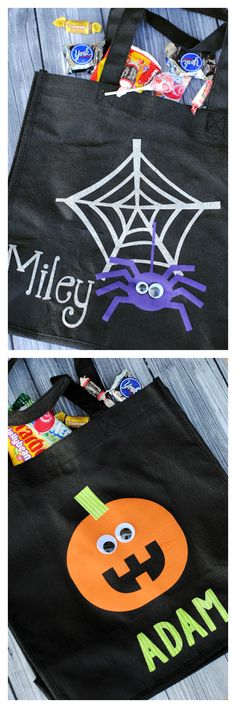 Personalized Trick or Treat Bags that you can make yourself with Heat Transfer and your Silhouette