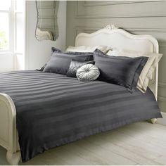 Elegant Living Duvet Set Charcoal Damask Stripe - Double | Bedding Sets | ASDA direct