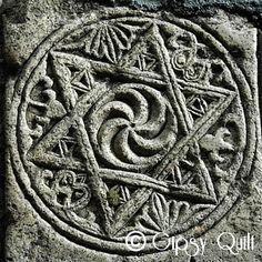 Hexagramme - Roue arménienne de l'éternité Détail Tombe du Grand Prince Hasan Jalal Vahtangian (1214 - 1261) Gandzasar - Nagorno karabakh