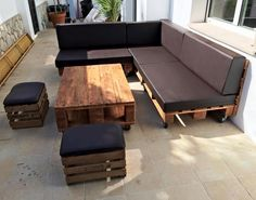 Pallet Sectional Sofa Set - Coffee Table and Ottoman - DIY Pallet Outdoor Sofa Ideas | 99 Pallets
