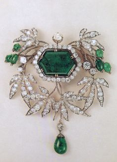 A large Devant de corsage in emeralds and diamonds. Part of a collection once owned by the dukes of Leuchtenberg.