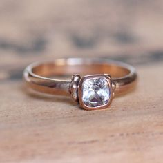 Rose gold engagement ring  white topaz ring  14k by metalicious