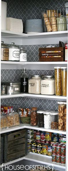 Organization tips for a Kitchen pantry makeover. Jars and containers for the pantry space. house of smiths pantry. Like the wallpaper/contact paper on the back wall. Pantry Makeover, Makeover Tips, Home Organization, Organizing Ideas, Organising, Linen Closet Organization, Kitchen Organization Pantry, New Kitchen, Kitchen Decor