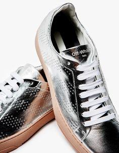 Leather Sneaker in Silver