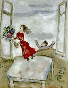 Marc Chagall - Les amants à la fenêtre ouverte, c. 1927-28. Gouache, watercolour, wash and pencil on paper, 24¾ x 19 in. (62.7 x 48.2 cm.).