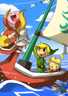 """Zelda The Wind Waker fanart... with Lucas too!"" come on pinner, did you NOT notice Kirby??!? ;)"