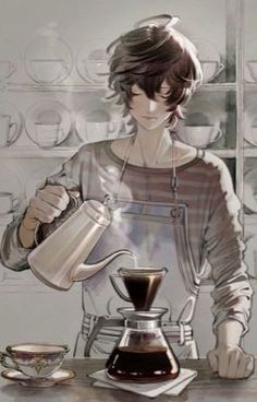 Manga Anime, Art Manga, Manga Boy, Fanarts Anime, Anime Art, Goku Manga, Yuumei Art, Anime Coffee, Anime Shop