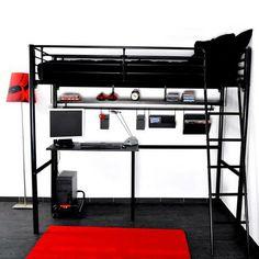 Gain de place dans la chambre id al pour les tudiants et - Lit mezzanine avec bureau integre ...