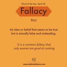 Vocabulary Builder Fallacy: An idea or belief that seems to be true but is actua… Vocabulary Builder Fallacy: An idea or belief that seems to be true but is actually false and misleading. Interesting English Words, Unusual Words, Weird Words, Rare Words, Cool Words, Vocabulary Builder, English Vocabulary Words, English Phrases, Learn English Words