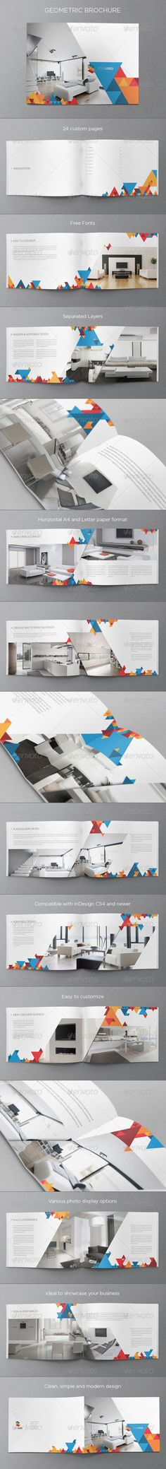 Modern Geometric Brochure — InDesign INDD #design #clean • Available here → https://graphicriver.net/item/modern-geometric-brochure/5427360?ref=pxcr