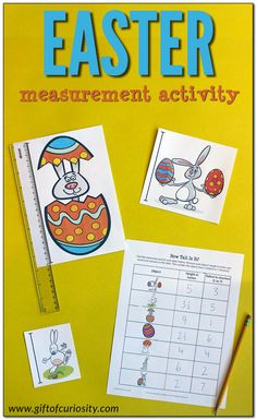 Easter Measurement Activity: Kids will use a ruler to measure the height of Easter-related objects in either inches or centimeters, then rank the objects by height from tallest to shortest. Lots of great learning in this low-prep printable activity! Easter Activities For Kids, Kids Learning Activities, Hands On Activities, Toddler Preschool, Measurement Activities, Kids Pages, Hands On Learning, Creative Kids, Curiosity