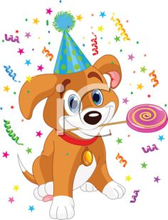 Birthday Clipart - Party Puppy