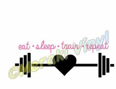 Barbell Weights EAT SLEEP TRAIN REPEAT vinyl decal sticker exercise fitness #Unbranded