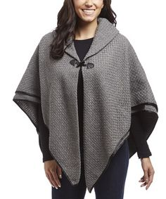 Loving this LTX Sportswear Gray Toggle Cashmere-Blend Cape on #zulily! #zulilyfinds