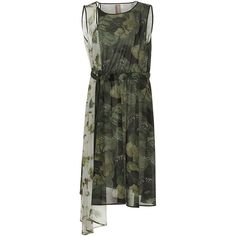 Antonio Marras Short Sleeve Asymmetrical Camouflage Dress (4.310 BRL) ❤ liked on Polyvore featuring dresses, tie waist dress, military green dress, antonio marras, army green dresses and camouflage dresses