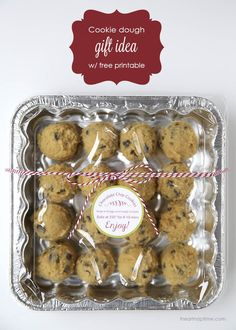 Cookie dough gift idea with free printable tag!