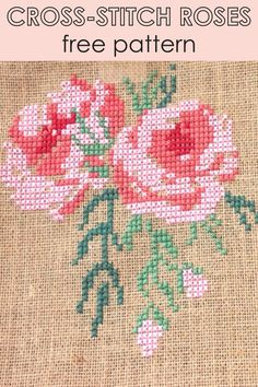 Sewing Crafts, Sewing Projects, Diy Crafts, Sewing Patterns Free, Free Pattern, Craft Tutorials, Craft Ideas, Cross Stitch Rose, Cross Stitch Patterns
