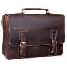 """Image of Vintage Handmade Crazy Horse Leather Briefcase Messenger 13"""" 14"""" Laptop / 13"""" 15"""" MacBook Bag(z05)"""