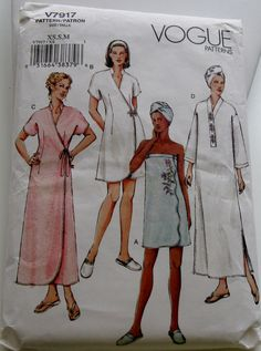 VOGUE PATTERN #V7917-ROBES,SHOWER WRAP,HEAD WRAP&SLIPPERS-UNCUT- MISSES XS,S,M #VoguePatterns #ROBESSHOWERWRAPHEADWRAPSLIPPERS