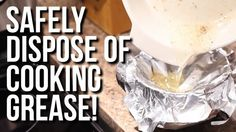 Safely Dispose of Cooking Grease. Pour your somewhat cooled fat, grease or oil in a sealed container and discard with your regular garbage. efore rinsing your greasy cookware and dishes,  begin by wiping them off using a paper towel to absorb extra fat, oil or grease.  Then, proceed to wash as usual. Scrape food scraps from dishes and cookware before washing, do not wash them down the sink.