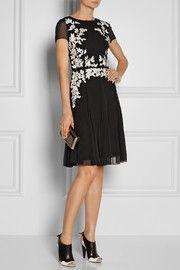 Oscar de la RentaFloral-appliquéd silk-chiffon dress