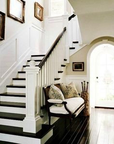 My dream home would have dark wood floors on the stairs with wainscoting. I love the architectural details here like the squared off bannister and the curve of the arched door frame. Reminds me of a beautiful Craftsman style home :) Painted Stairs, Wooden Stairs, Hardwood Stairs, Painted Floors, Hardwood Floor, Laminate Stairs, Painted Staircases, Design Entrée, House Design