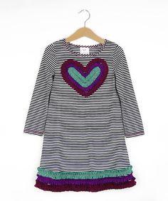 Freckles + Kitty Gray & Purple Heart Tunic - Girls | zulily
