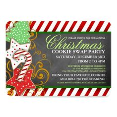 #Christmas Cookie Swap Party Invitation - #Xmas #ChristmasEve Christmas Eve #Christmas #merry #xmas #family #kids #gifts #holidays #Santa