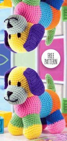 Crochet Dog Free Pattern – Crochet Pattern and ideas Crochet Amigurumi Free Patterns, Crochet Animal Patterns, Stuffed Animal Patterns, Crochet Animal Amigurumi, Dog Crochet, Crochet Stuffed Animals, Crocheted Animals, Crocheted Toys, Amigurumi Toys