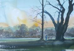 A painting about a couple embracing in Calderstones Park, watercolour on paper.