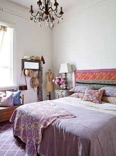 I like the lavender. The mirror with the coat hooks under it is a good idea. Like the bench under window too.bohemian bedroom