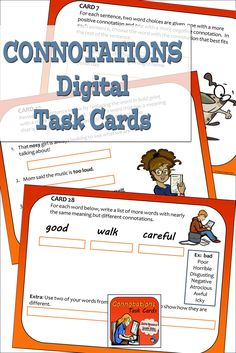 Connotations and denotations vocabulary skills practice with digital task cards using Google slides. Language arts practice for middle school and upper elementary classes. Fun Classroom Activities, Vocabulary Activities, Reading Comprehension Skills, Writing Skills, Multiple Meaning Words, Digital Word, Root Words, Context Clues, Reading Lessons