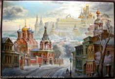 The Winter In Moscow - a box, Fedoskino lacquer painting technique