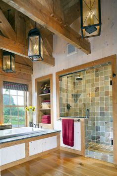Master bath with heavy timber trusses
