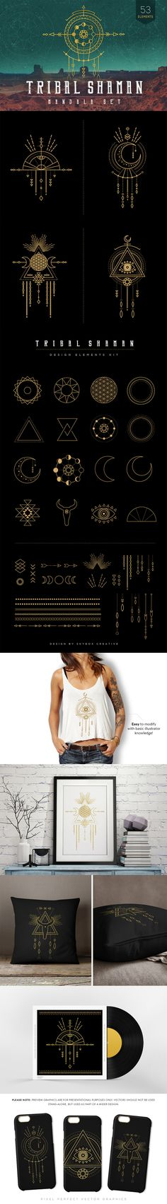The Essential Hand-Made Vectors Collection #tribal #handmade #vector #illustrator #hipster #element #DesignCuts