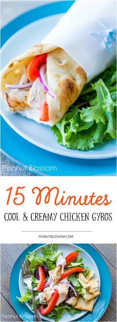 Cool and creamy chicken gyro recipe. Serve it two ways: wrapped in a warm pita or as a fresh and healthy salad! Comes together in just 15 minutes for an easy weeknight dinner. The homemade tzatziki, fresh tomatoes, and crisp red onions make this a family favorite.