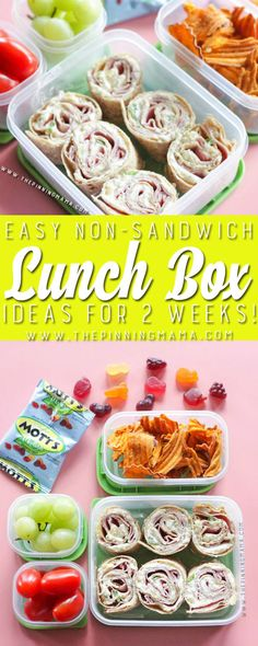 Hawaiian Roll Up Lunch box idea - Just one of 2 weeks worth of non-sandwich school lunch ideas that are fun, healthy, and easy to make! Grab your lunch bag or bento box and get started!