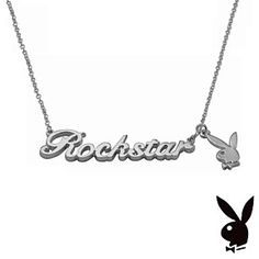 Playboy Necklace Rockstar Pendant Bunny Charm Statement Word Script Licensed by Playboy Jewelry at Karen's Treasures on Opensky