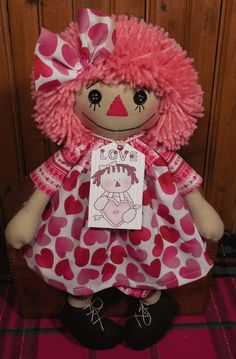 Handmade Button Eye VALENTINE Raggedy Ann Doll in HEART Dress & Pink Hair