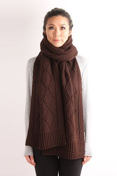 handmade knit scarf, chuncky knit scarf, cable knit scarf, knit scarf, wool scarf, women scarf, brown knit scarf, oversized scarf, Diamond