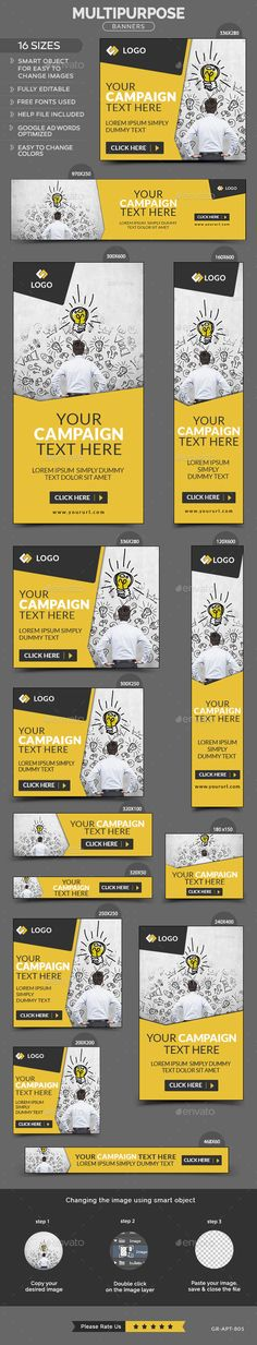 Multipurpose Banners Template #design #ads Download: http://graphicriver.net/item/multipurpose-banners/12378368?ref=ksioks