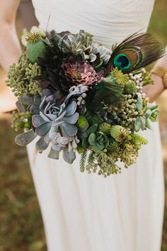 succulent and feather bouquet // photo by AndrewThomasLee.com