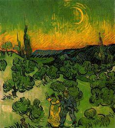 Pinturas de Van Gogh paisaje-iluminado-por-la-luna