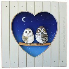 Rock Painted Owls In Love Unique 3-D Paintings by RobertoRizzoArt