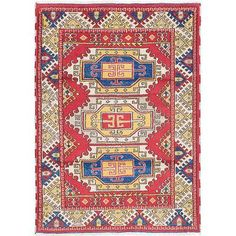 ECARPETGALLERY Royal Kazak Hand-Knotted Dark Burgundy Area Rug