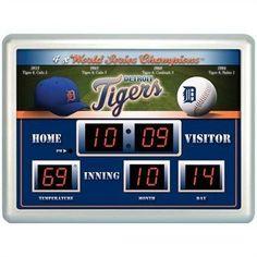 "Detroit Tigers Clock -  14""x19"" Scoreboard"
