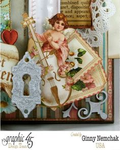 The details on this gorgeous Sweet Sentiments card are unreal! By: Ginny Nemchak #graphic45 #cards