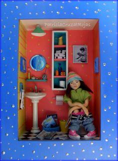 Baño Pop con Figura sentada en WC. Hecho por encargo
